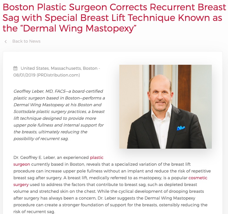 Boston Plastic Surgeon Corrects Breast Sag with Dermal Wing Mastopexy